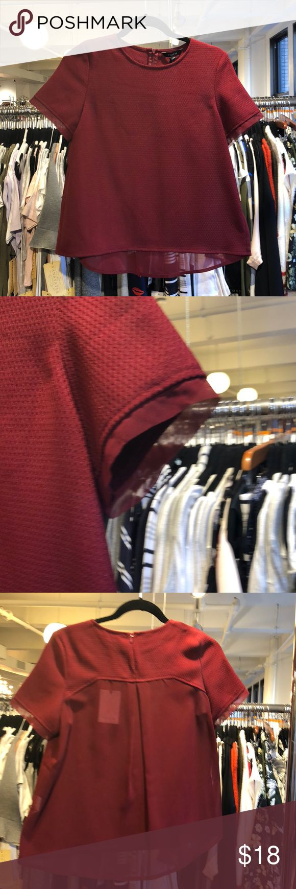 NWT brick red blouse Sheer in the back and she detailing on the sleeve Tops Blouses
