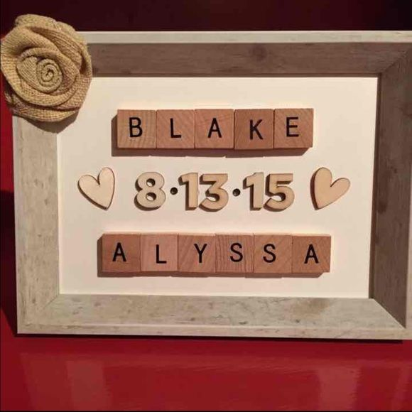 Custom made scrabble anniversary frame YOU DESIGN I customize handmade crafts of all kinds!! Scrabble tile family tree picture frames, personalized metal horseshoes, rustic wooden letters, button art with rustic frames, etc! Message me for additional details and hopefully I'll be making something fabulous for you soon! Other