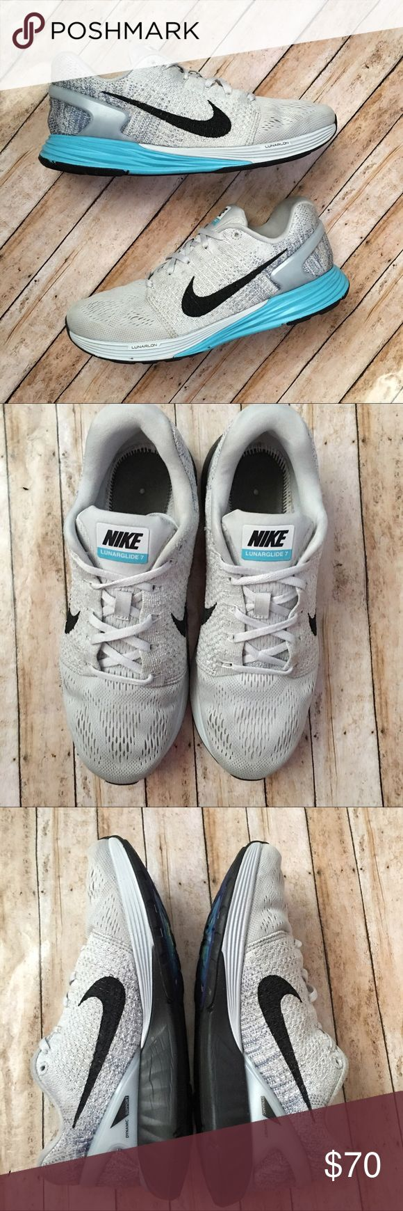 Nike LunarGlide 7 Nike LunarGlide 7 in Pure Platinum/ Gamma Blue/ Ocean Fog/ Black. Minor signs of wear. Insoles removed to use my own and didn't keep originals. Add your own or just as comfy without. Size 9.5 Nike Shoes Athletic Shoes
