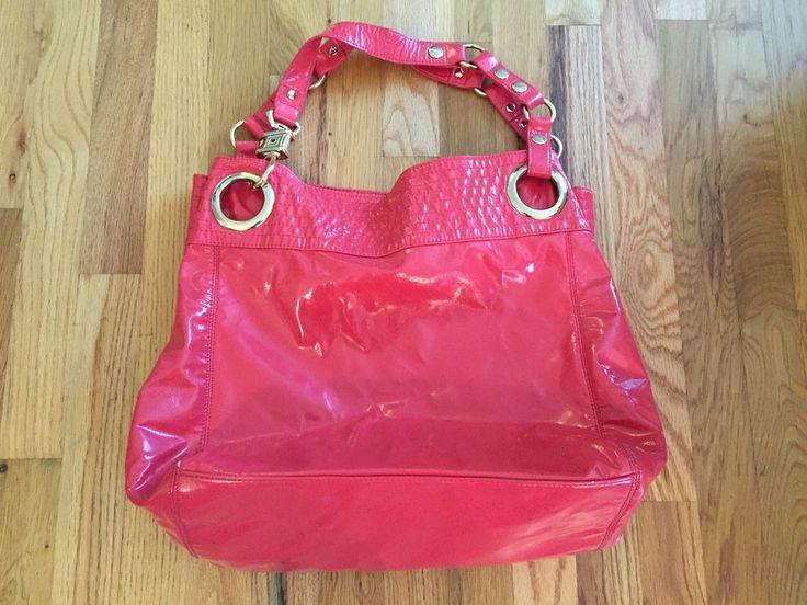 Steven Steve Madden Shiny Orange Pink Handbag Tote Gold Hardware EUC! #SteveMadden #TotesShoppers