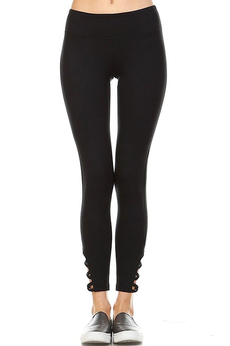 Mono B Womens Active Criss Cross Leggings Black