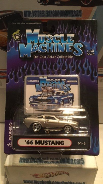 Muscle Machines 66 Ford Mustang Silver 1:64 Diecast 1966 Car 01-3 #MuscleMachines #Ford