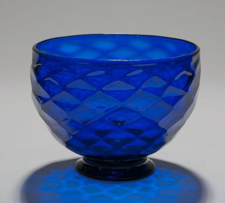 Antique Georgian Bristol Blue Glass Bowl with Diamond Moulding c1780