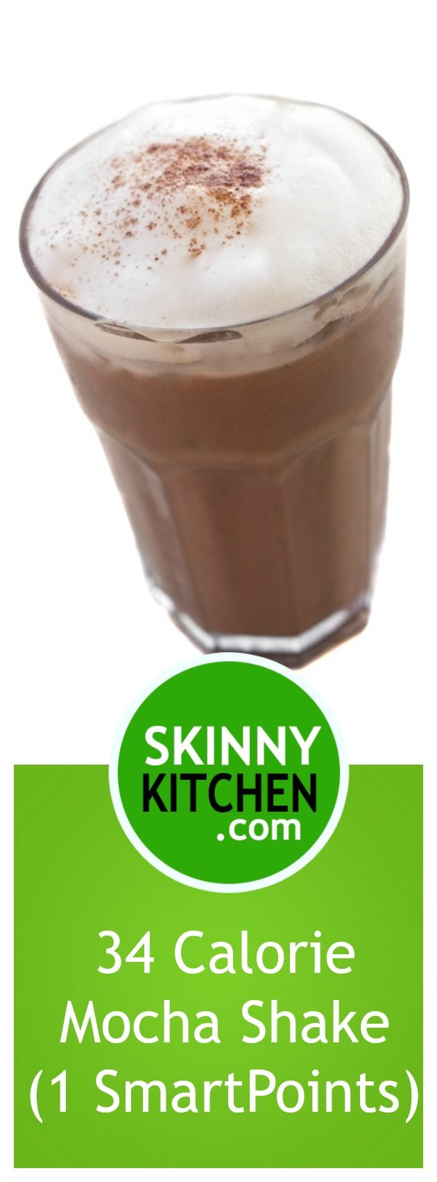 34 Calorie Mocha Shake (5 Ingredients, 1 SmartPoints). Coffee and chocolate blended until yumminess! Each has 34 calories & just 1 SmartPoints. Have fun skinny sipping! #glutenfree Easy swaps for dairy-free!