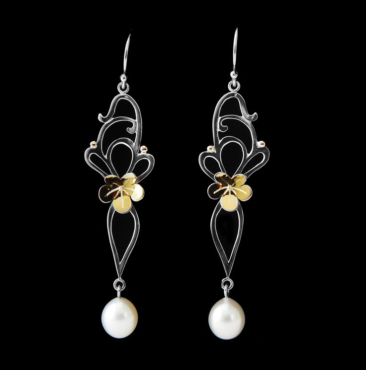 Adorned by Sally Sally Brown - Sterling silver earrings with pearls and yellow gold flowers. Inspired by Art Nouveau design.