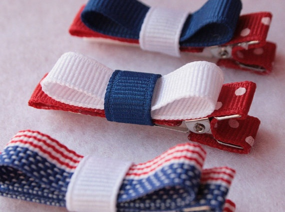 Patriotic Tuxedo Bow Hair Clips Red White and Blue by BabySmooches, $3.49