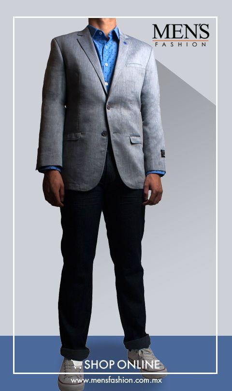 Para tener un #outfit totalmente moderno, te sugerimos combinar una #camisa azul con un #pantalón negro. Como complemento perfecto usa un #saco gris. Cómpralo aquí: www.mensfashion.com.mx