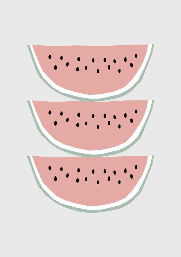Tropische Wohndeko: Sommerliche Illustration mit Wassermelonen / tropical fruits as home decor: fresh watermelon print made by nanamiadesign via DaWanda.com