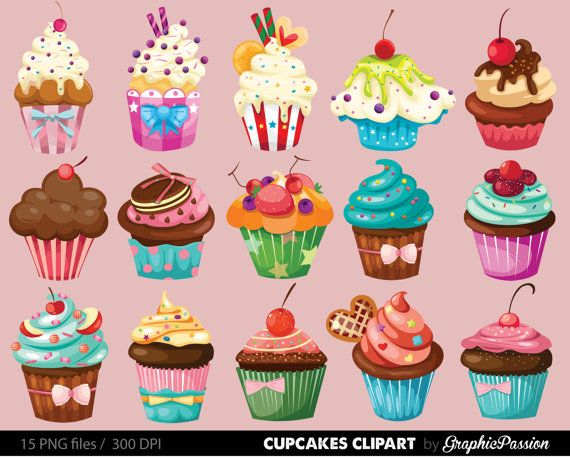 Cupcakes clipart digital cupcake clip art by GraphicPassion