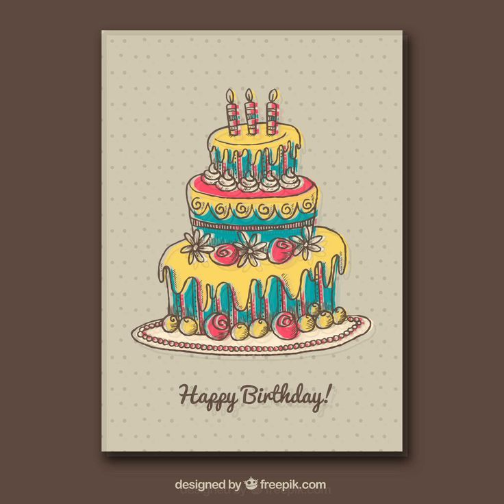 Dotted greeting card with birthday cake 10