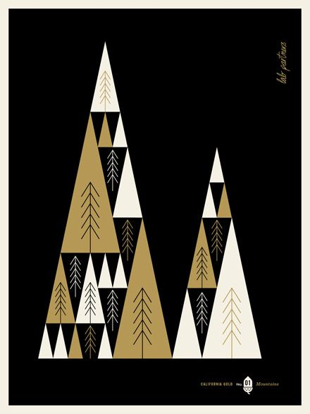 Mountains Gold Christmas Tree And Illustrations