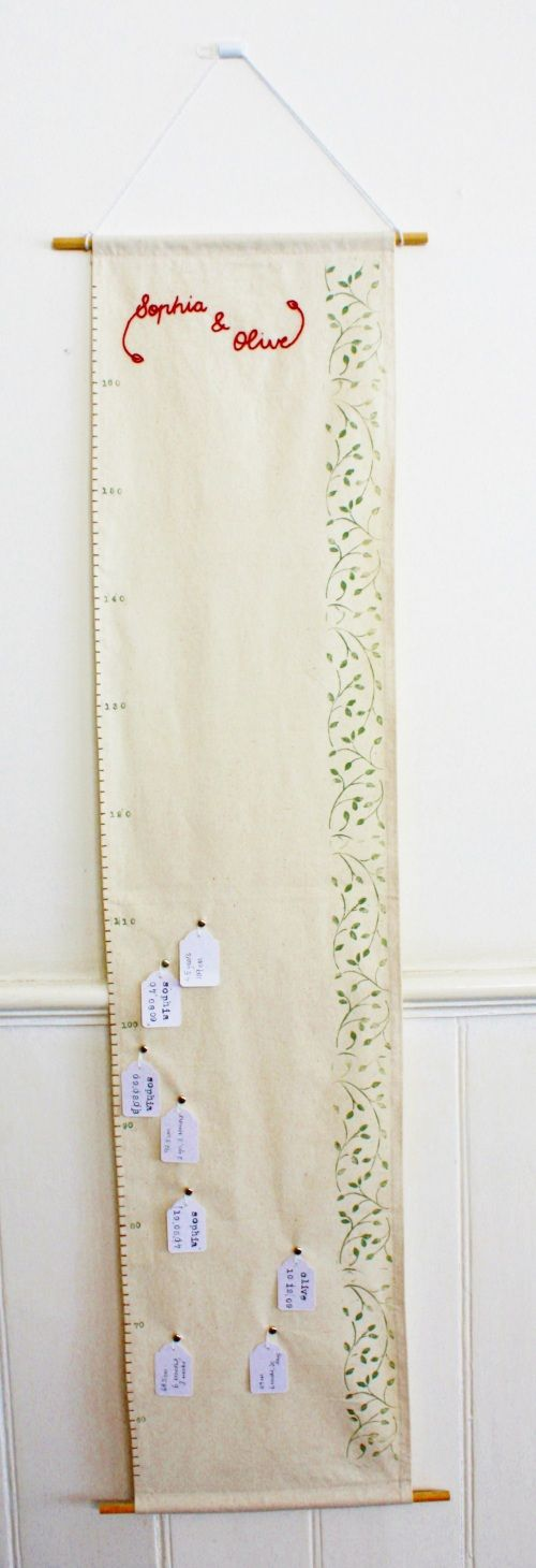 very cool tutorial for a fabric growth chart. I can't sew, or embroider, so I will be using fabric glue and paint, or something along those lines... but this is a great starting off point.