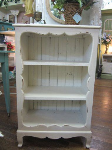 Vintage Shabby Chic Hand Painted Bookcase Bead Board Back