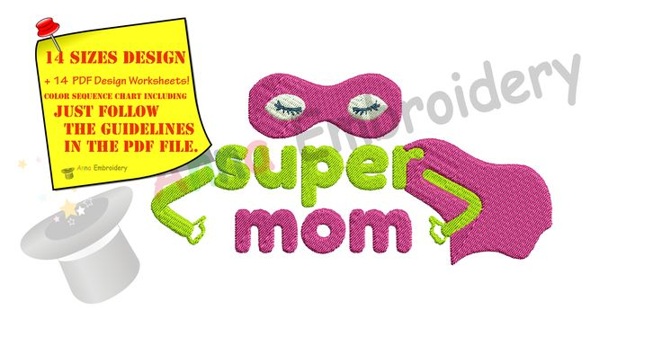 Just listed my new  Super Mom Embroid.... Check it out!   http://www.annaembroiderydesigns.com/products/super-mom-embroidery-design-mothers-day-embroidery-superhero-machine-embroidery-patterns-instant-download-pes?utm_campaign=social_autopilot&utm_source=pin&utm_medium=pin