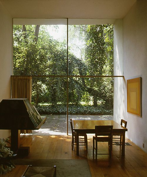 Luis Barraggan, love the simplicity of this room. The curtains drawn to one side are perfect for this space.