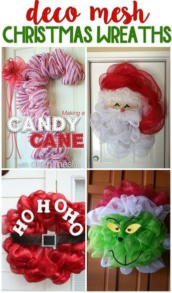 Fun deco mesh christmas wreath ideas to make! Christmas