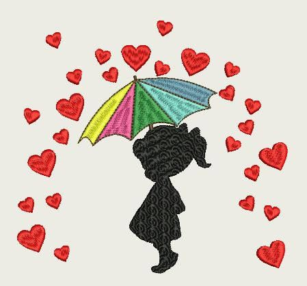 Girl with a colorful Umbrella Raining Hearts (220 x 220 Hoop) by Judean888 on Etsy