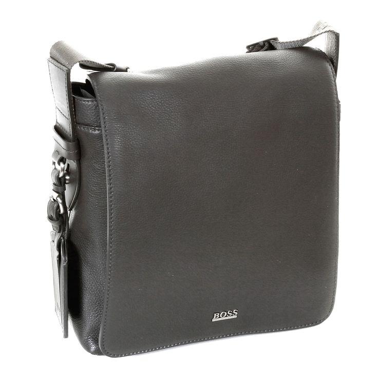 Hugo Boss Black label mens grey leather 50205405 Bekon reporter bag BOSS0973