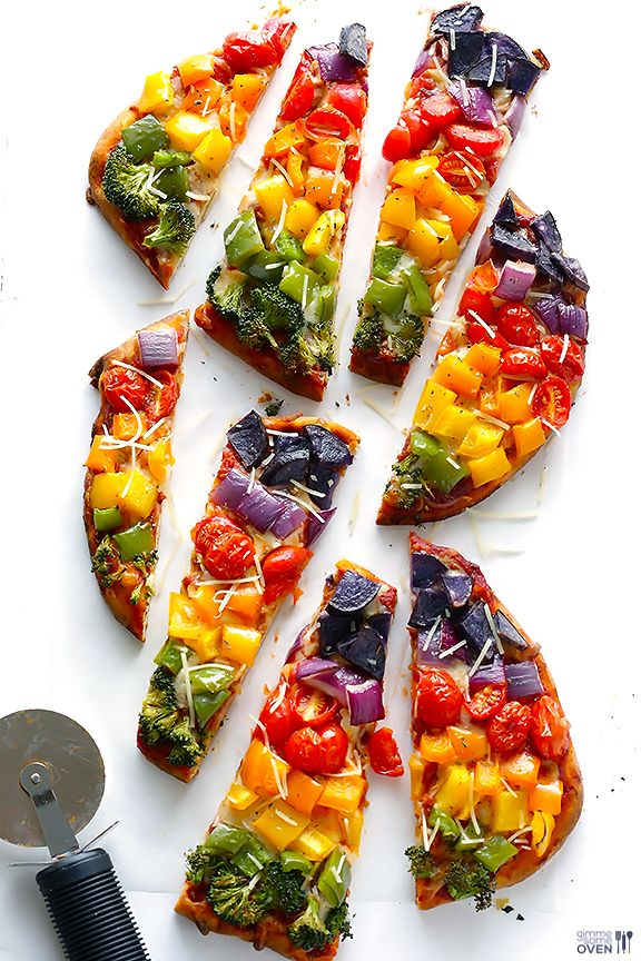 Amazing and beautiful! Rainbow veggie flatbread pizza.