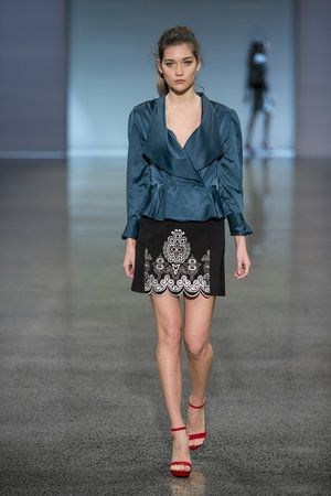 Daniel Power-Silk (New Generation) oversized lapel on a particular shade of blue and black damask skirt #NZFW2016 DANIELPOWDERSILK_NG_0207.jpg