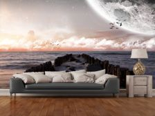 Planet landscape view from a beach wall mural