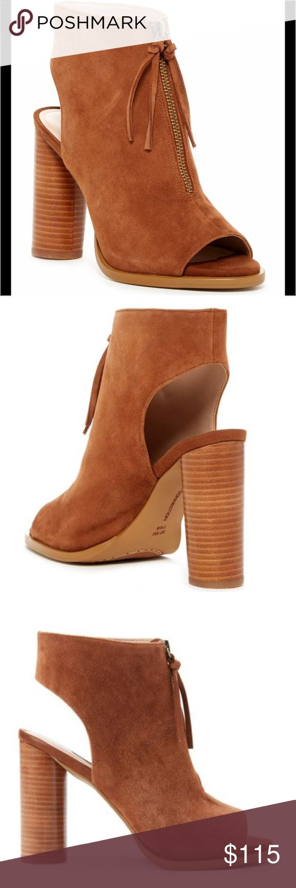 FRENCH CONNECTION Uttara Open Toe Tan Booties Brand new with box never been worn before. Open toe zip up with cute tassel detail on zipper. These are slip on for easy on and off with Cutout heel counter. Heel height is about 4 inches tall and shaft height is about 3 inches. Suede upper with a manmade sole. French Connection Shoes Ankle Boots & Booties