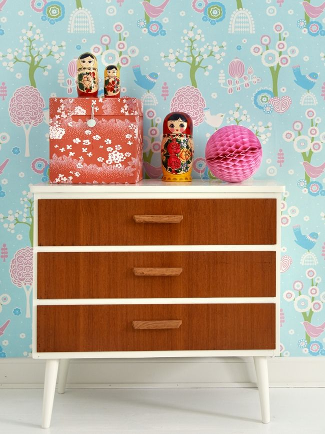 Sweet table top vignette atop a Danish Modern end table / low dresser.  Fresh and fun.