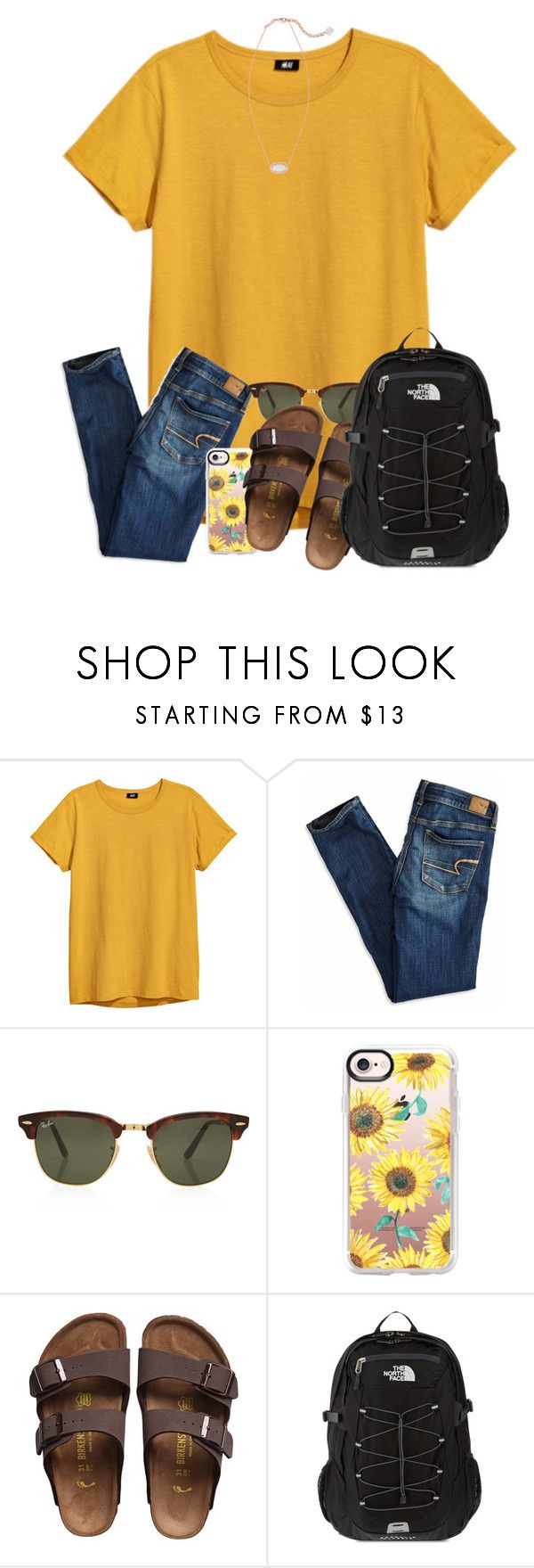 """RTD! SERIOUSLY!"" by ellisonharris ❤ liked on Polyvore featuring American Eagle Outfitters, Rayban, Casetify, Birkenstock, The North Face and Kendra Scott"