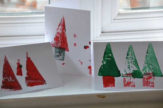 Easy potato print Christmas cards