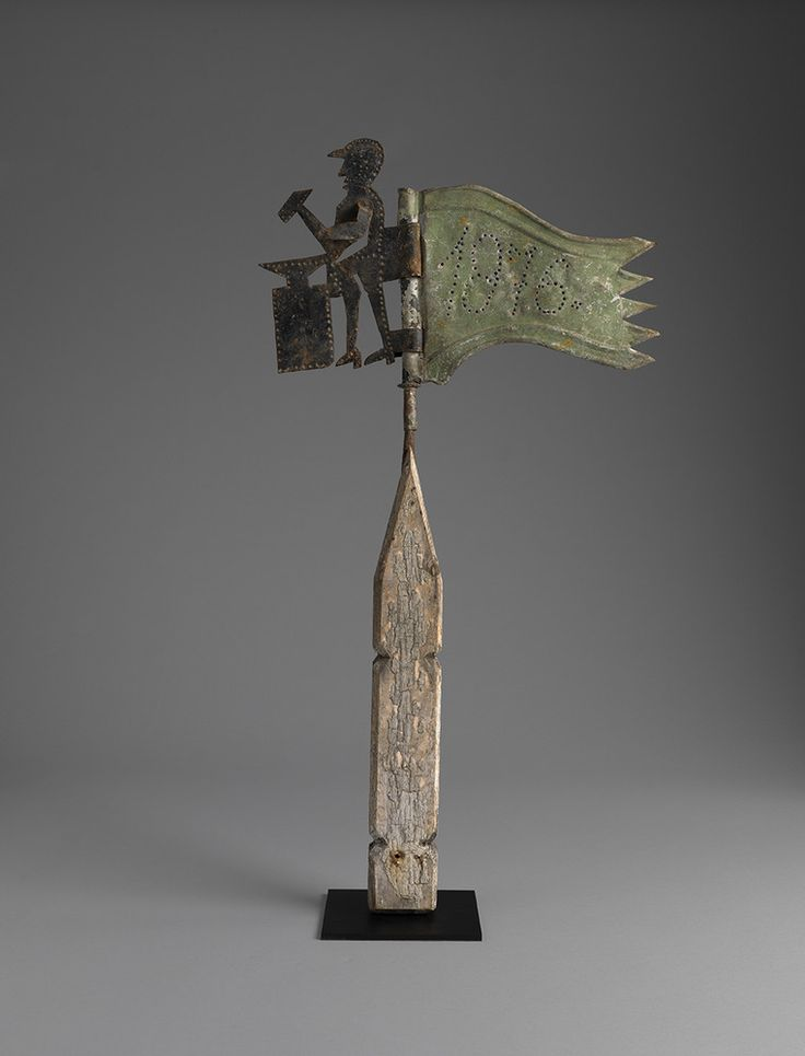 Exceptional Folk Art Tinsmith's Banner Weathervane, Europe 1876.