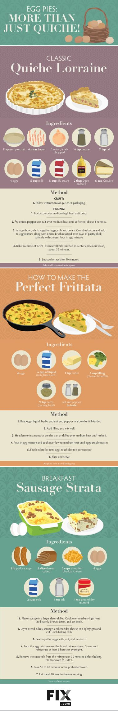 Read our classic quiche lorraine recipe, plus recipes for other egg pies such as frittata, breakfast sausage strata and more!
