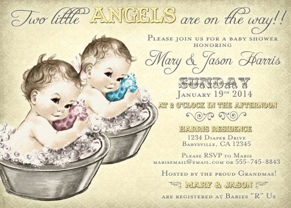 Twins baby shower invitations. Gender neutral theme, made-to-order customization, DIY printable.