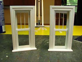 Dollhouse Miniature Furniture - Tutorials   1 inch minis: MAKING A 1 INCH SCALE WINDOW FROM MAT BOARD - How to make a 1 inch scale dollhouse window from mat board.