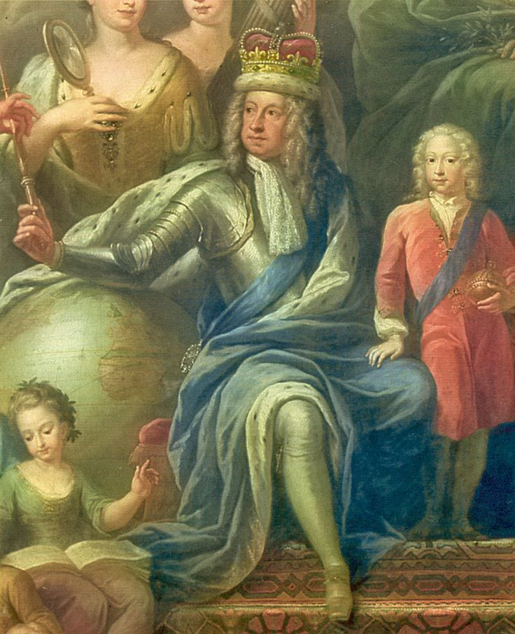 George surrounded by his family, in a painting by James Thornhill.