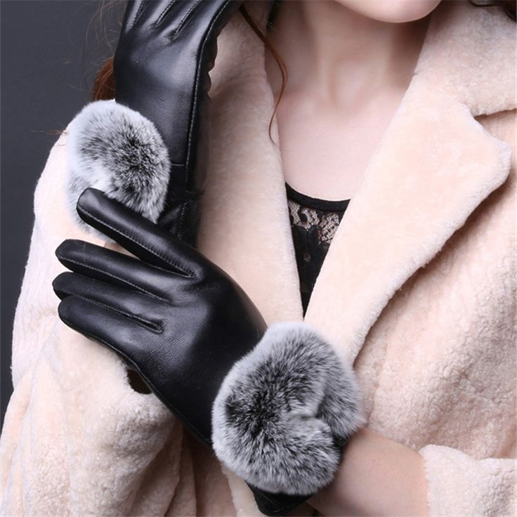==> [Free Shipping] Buy Best New Style Female Sheepskin Genuine Leather Women Gloves Ladies Winter Mittens Warm Fur Gloves for Women Touch Screen for iPhone Online with LOWEST Price | 32813841563