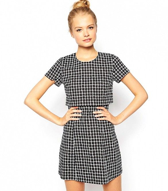 On-trend grid print in a cute cut // Fashion Union Layered Dress in Check Print