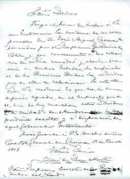 Carta de San Martín con motivo de la condena de Jose Miguel Carrera