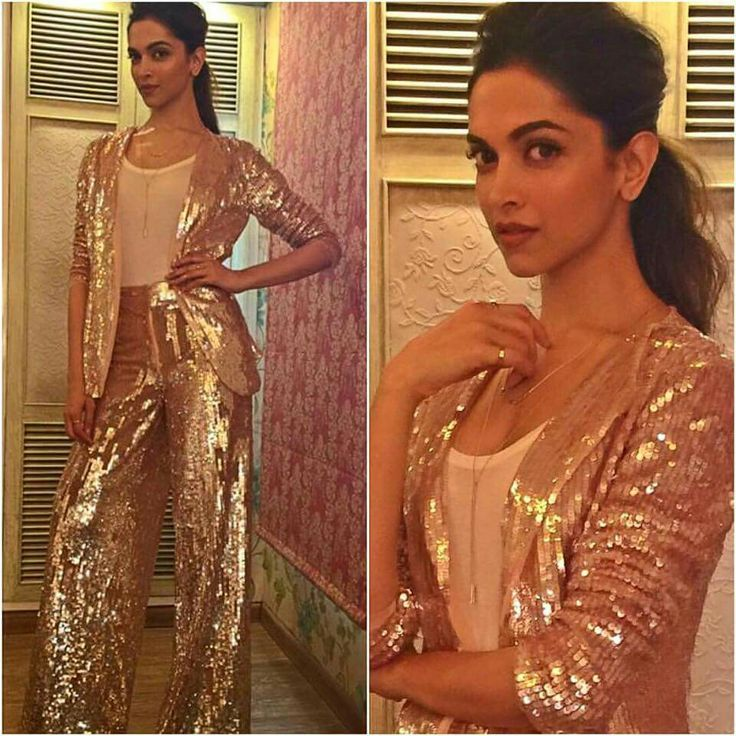 Deepika Padukone in a retro-inspired rose gold suit by Jade.