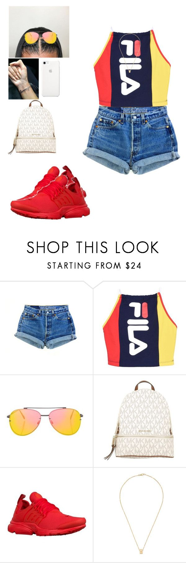 """""""Untitled #107"""" by mcoats67 ❤ liked on Polyvore featuring Fila, Topshop, MICHAEL Michael Kors and Gucci"""