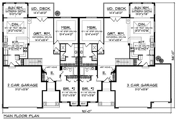 Plan 89296ah duplex with country flair - Your dream home plans afford ...