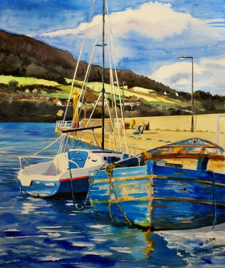 Carlingford Harbour, County Louth, Ireland. Watercolour
