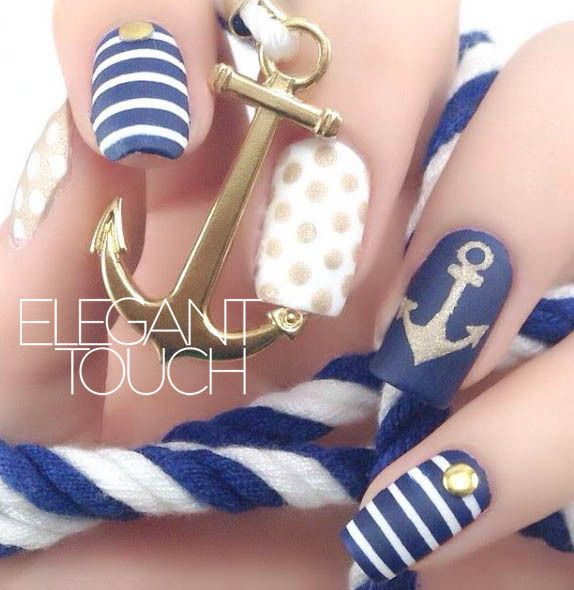 marine style nail art design | strip | white blue | matte top coat | round | gel polish | acrylic | easy | spring and summer 2017