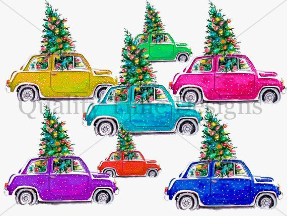 Christmas Tree And Car Package Multi Color Pack Car Clipart Set