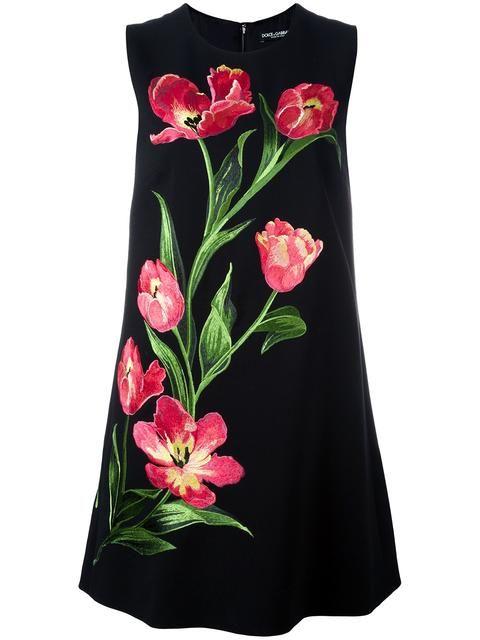 Shop Dolce & Gabbana embroidered tulip shift dress.
