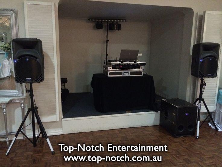 The wedding DJ equipment set up at Norwood House Receptions, Mt. Eliza, Victoria.  www.top-notch.com.au  www.facebook.com/WeddingDJTopNotch