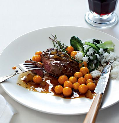 Pan-fried ostrich steaks with ginger and gooseberries