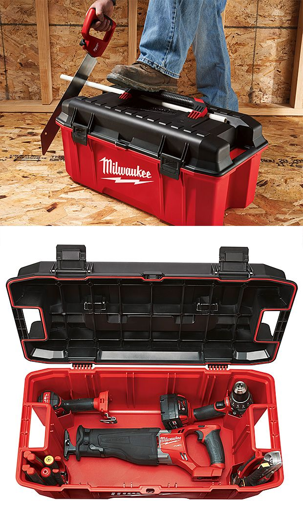Milwaukee Work Box-----new, lockable 26″ Work Box.To name just a few:a weather-sealed lid with recessed hatches and mounting points to attach battery chargers, corner pockets to hold cordless tools in place for transport, pass-through side handles, & a groove molded into the lid to hold materials like small-diameter pipe, for cutting.  $40.