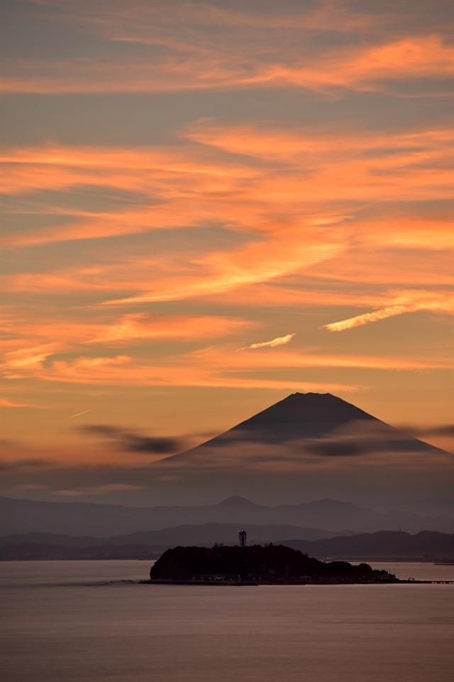 Mt. Fuji in the evening.