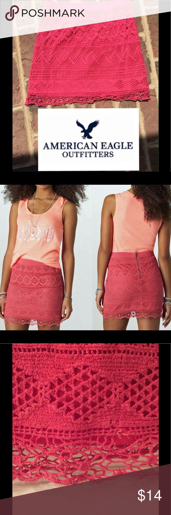 """American Eagle pink lined lace skirt American Eagle pink lined lace skirt. Back zipper. 100% cotton.  Lining 100% polyester. 16"""" length American Eagle Outfitters Skirts"""