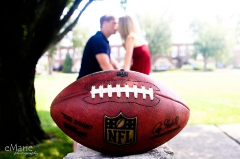couples session with a football  - eMarie Photography